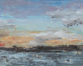 North Sea Sunset, Norway, Acrylic, Painting, Art, Abstract, Blue, Yellow