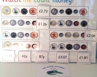Counting money, Learning coins, KS2, Matching game, Learning sheet, Teaching resource, Visual learners, British coins, Early learning, KS2,