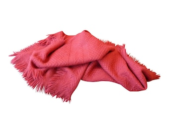 Red Wool Fringed Throw Blanket