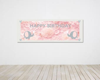 Instant Download- Pink Elephant Party Banner Pink Elephant Party Backdrop
