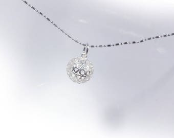 Round Digging Necklace in Solid Sterling 925 Silver (SN020)