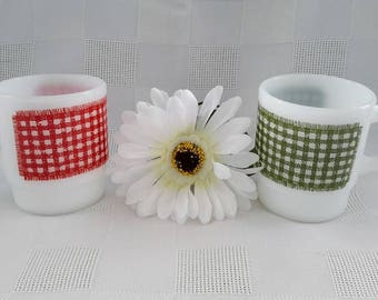 Fire-King Milk-Glass Stackable Gingham Plaid Mugs, Set of Two (2)