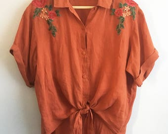 Tie-front Shirt with Floral Applique