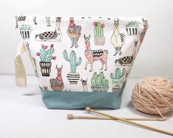 Llama Knitting Project Bag/ Project Bag/Knitting Bag/Crochet bag/Project Bag/Zipper Bag/Knitters/Crocheters- Llama