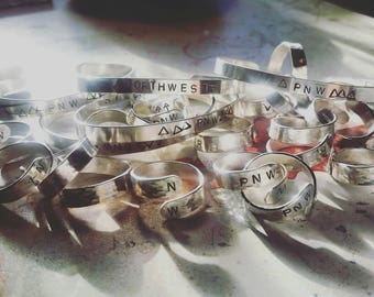 NORTHWEST || themed handstamped Sterling Silver rings and cuffs