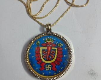 Brass Necklace Pendant With 24 Inch Brass Chain Hindu Deity God Tantra Art Copy GANESHA Beautiful Pendant Necklace Size 3.2 cm