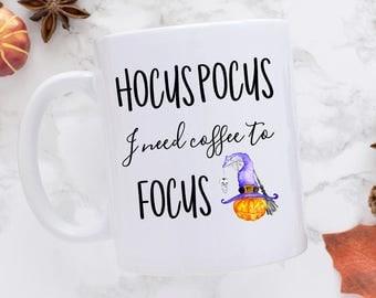 Halloween Mug, Funny Mug, Hocus Pocus Mug, Halloween, Coffee Mug, I Need Coffee, Hocus Pocus Coffee, Ceramic Mug, Halloween Coffee Mugs