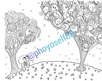 Weird Planet Doodle Coloring Page - Doodle Art