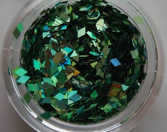 Green Iridescent Rhombus Glitters. 5 grams