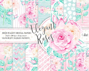 Floral Digital Paper Pack, Hand Drawn Watercolor Roses, Planner Stickers, Seamless Patterns, Watercolor Flowers, Wedding Paper Pack