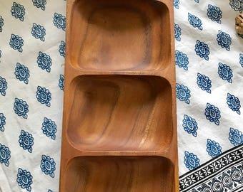 Beautiful vintage wood serving tray - mid century