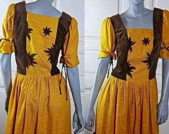 German Vintage Dirndl Dress, Mustard Yellow w Brown Faux Suede Leather Bavarian Octoberfest Dress: Size 10 US, Size 14 UK