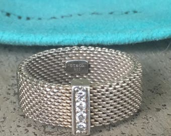 On sale 50% OFF ORIGINAL COST ! Authentic Tiffany & Co. Somerset mesh Sterling silver diamond ring size 7