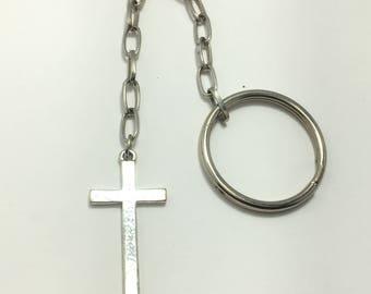 "Custom made petite cross religious keychain 6.75"" long recycled broken jewelry"