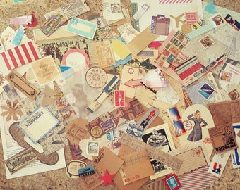 150+ pc Travel Journal Collage Scrap Paper Snailmail Set of Vintage-Style Small Scraps, Die Cuts, Punches. Used Stamps & Embellishments Lot