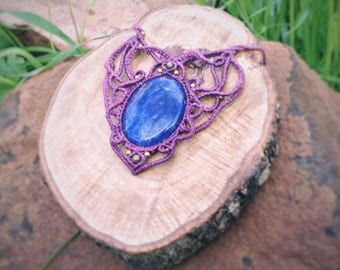 handmade micro macramé with sodalite gemstone, perfect for the fairy look