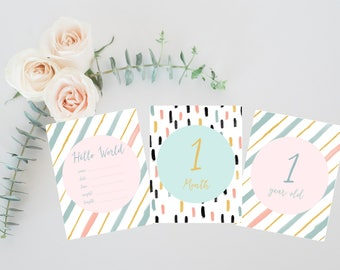 Boho Baby Girl Milestone Cards, Watercolor Boho Baby Gift, Baby Shower Gift, Newborn Keepsake, Girl Milestone Cards, Baby First Moments