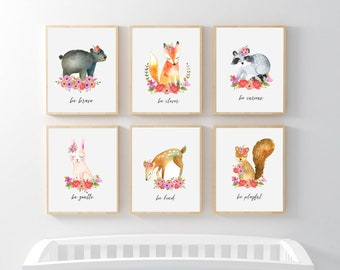 Woodland Animal Nursery Art, Girl Floral Nursery Prints, Floral Woodland Animals Be Kind Brave Clever Curious Wise Gentle Playful