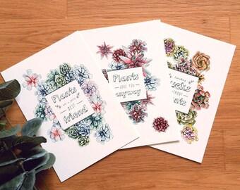 Plants are friends Set . 3 DIN A6 Prints