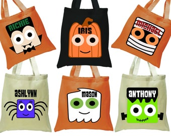 Halloween Trick or Treat Bag, Personalized Halloween Tote, Trick or Treat Tote, Halloween Bag for Kids, Treat Sack, Trick For Treat Bag