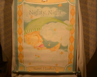 Wall Hangings, Hand Painted rods - Nighty Night Sweet Hanna - Frog With Lady Bug-