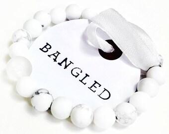 White bead bracelet, White beaded bracelet, Stretch Bead Bracelet, Beaded Stretch Bracelet, Gemstone Bead Bracelets, Beaded Stretch, Beaded