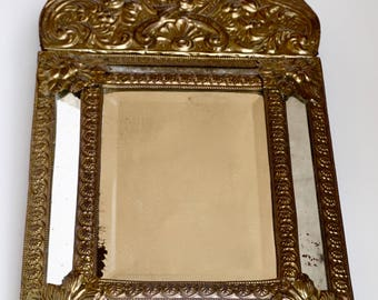 Renaissance Revival Antique 19th Century Embossed Brass