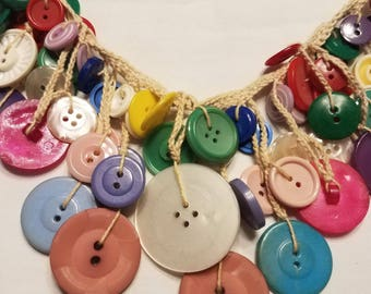 Vintage Folk Art Buttons Necklace Hand-Made