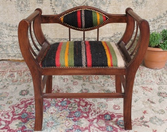 Amazing Turkish Kilim Rug Footstool Wood Chair Handcrafted Vintage Rug Chair  Ottomans Bohemian Furniture Handmade Vintage Home