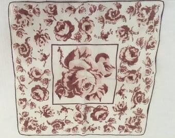 Vintage Handkerchief / Sepia Roses