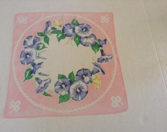 Vintage Handkerchief / Morning Glories