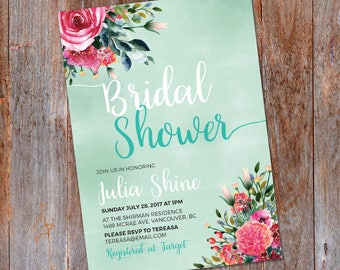 Floral Bridal shower invitation, Watercolor bridal Shower, Boho Bridal Shower invitation, Floral Bridal Invitation, Baby Shower invite