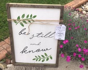 """Wall Decor l Be Still & Know l Wood Signs l Custom Signs l 18""""x 12"""" l Home Decor l  Scripture Decor"""