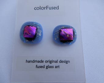 Blue and Purple Dichroic Fused Glass Post Earrings