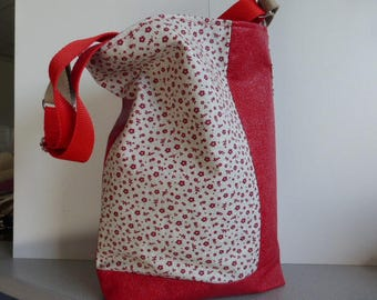 Floral red faux leather - fabric shoulder bag - Tote red lined fabric heart pattern