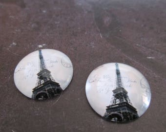 2 cabochons round glass 20 mm Eiffel Tower # 21