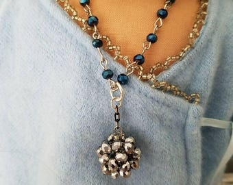 OOAK American girl doll 18inch doll sparkly necklace silver blue doll jewelry
