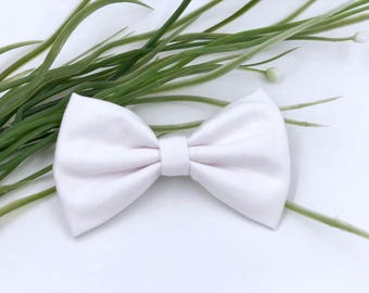 Baby Girl hair bow headband - nylon - clips - infant / toddler / child bows - white