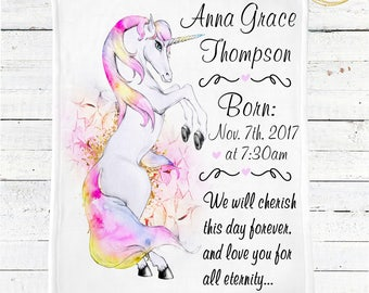 Unicorn Baby Blanket / Personalized Baby Blanket / Baby Shower Gift Girl / Baby Blanket Rainbow / Baby Blanket Personalized / Minky Blanket