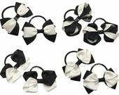 Black and white grosgrain ribbon hair bows on thick bobbles, girls black and white hair accessories, ribbon hair bows, hair elastics, ties