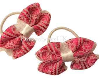 Pink and white floral lace hair bows on thick bobbles, pretty floral lace hair accessories, girls lace hair accessory bows, thick hair ties