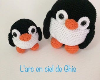 Plush or plush MOM and baby penguin Amigurumi crochet.