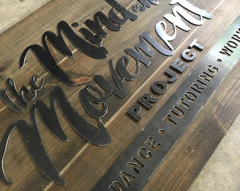 Custom Wood and Metal Sign Business Logo or Family Name