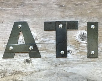 "3"", 4"", 5"" Metal Letters and Numbers with Rivets - Personalize"