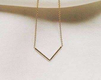14k Chevron Necklace, 14k V Shape Necklace, 14k V Necklace, 14k Layer Necklace, 14k Layering Necklace, 14k Dainty Necklace/14k Gold necklace