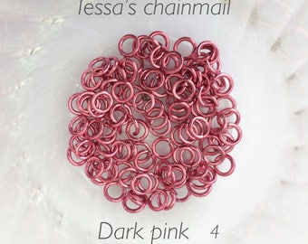 "18g 5/32 ""chainmaille saw cut jump rings, pink jump rings, DIY, chainmaille supplies, jumprings, Pink chainmaille, Tessa's chainmail"