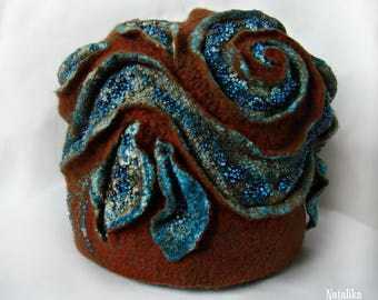 """Felted hat """"Turquoise Leaves"""" Handmade Woolen OOAK Eco Fashion White Winter Hat"""
