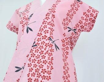 Vintage Kimono Robe - Women's Clothing/yukata/cotton robe/pink robe/kimono jacket/dressing gown/boho kimono/coverup/kimono cardigan