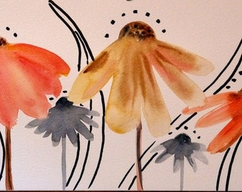 "Original Art, Contemporary art, flowers Art, ""Echinacea"", Mixed Medias, watercolor painting"