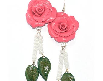Polymer Clay Rose Earrings, Gift for Her